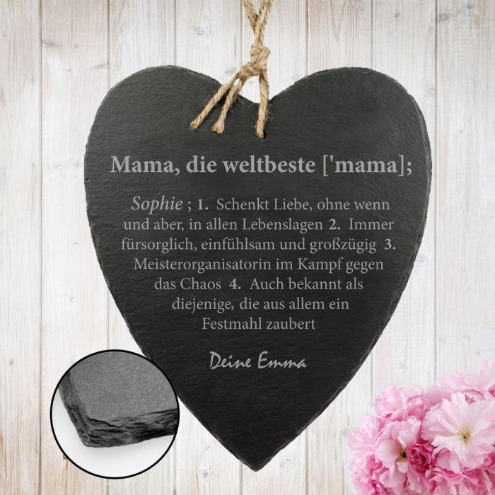 Schieferherz mit Gravur - Definition Weltbeste Mama