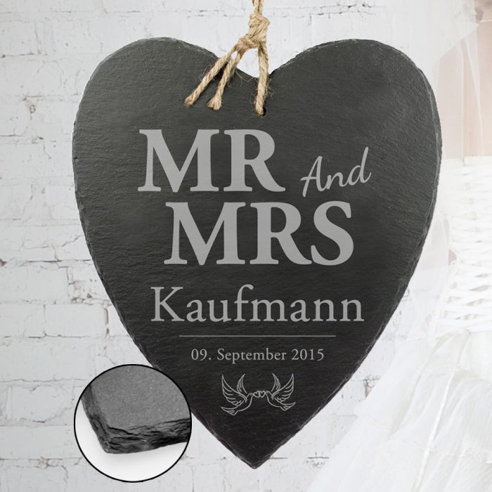Schieferherz mit Liebestauben Gravur - Mr and Mrs