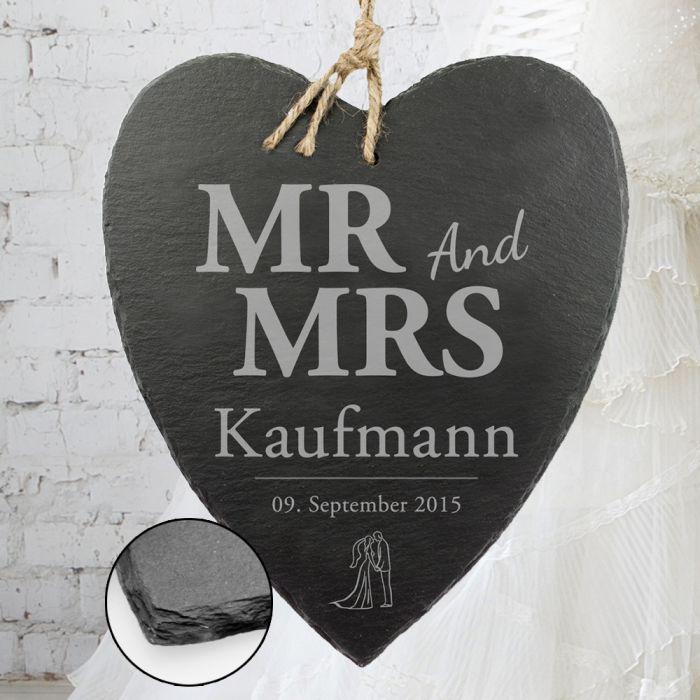 Schieferherz mit Silhouetten Gravur - Mr and Mrs
