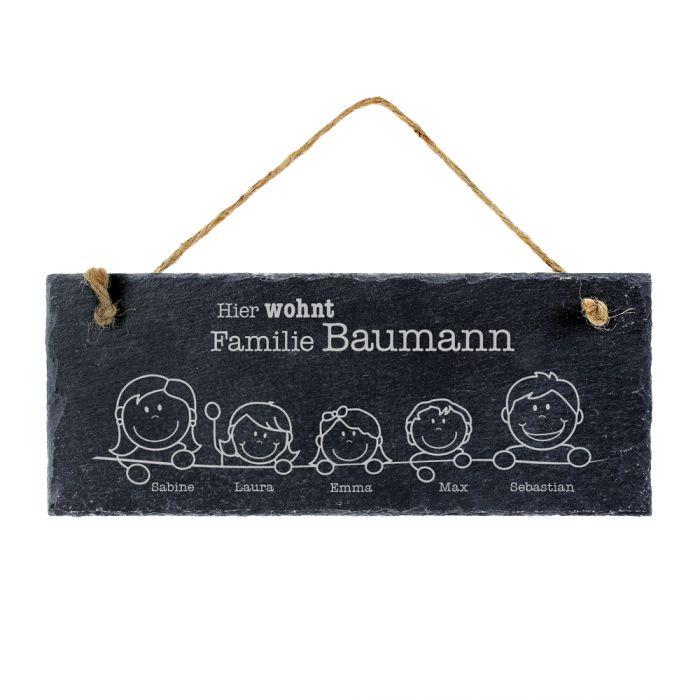 Schiefertafel mit Gravur für Familien