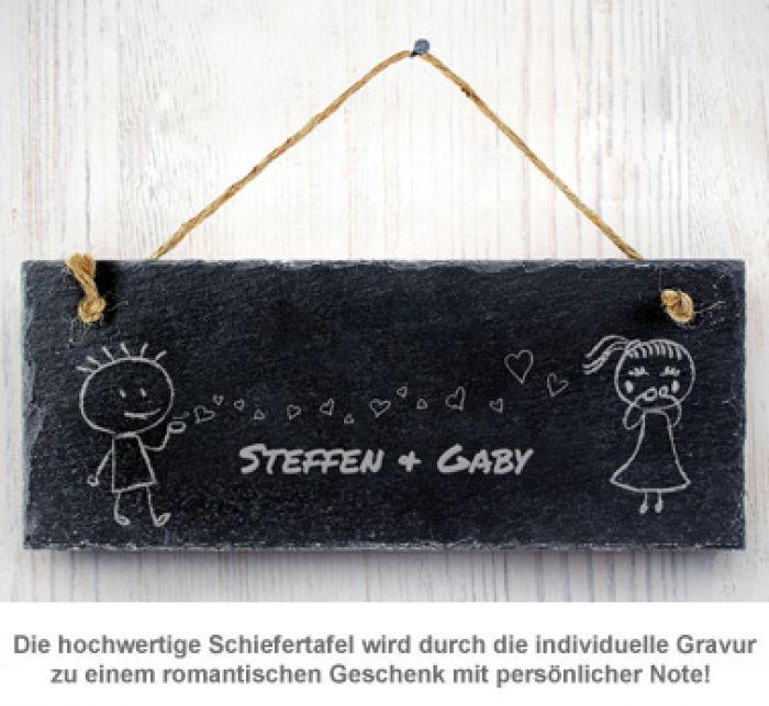 Schiefertafel mit Gravur - Liebespaar