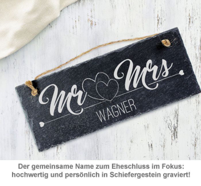 Schiefertafel mit Gravur - Mr and Mrs