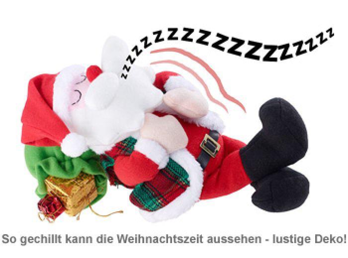 Schlafender Weihnachtsmann mit Bewegung und Sound