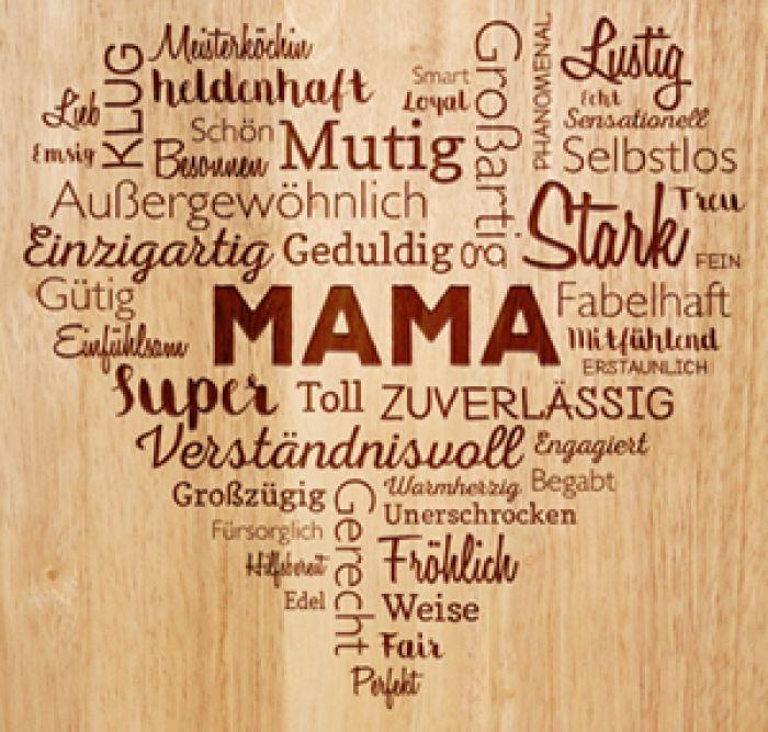 Schneidebrett mit Gravur für Mama - Herz aus Worten