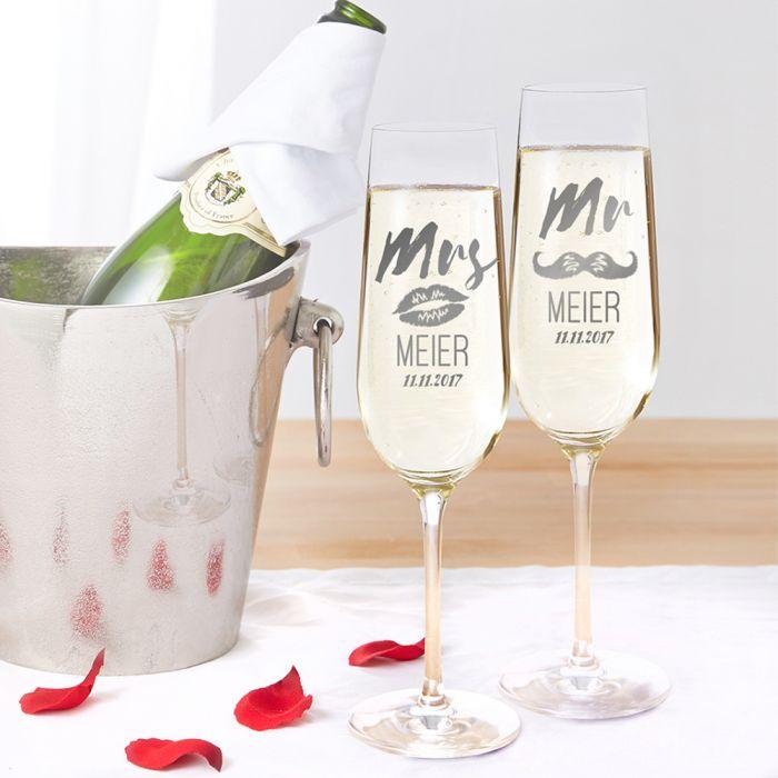 Flûtes à champagne - Mr and Mrs avec motif et gravure du nom