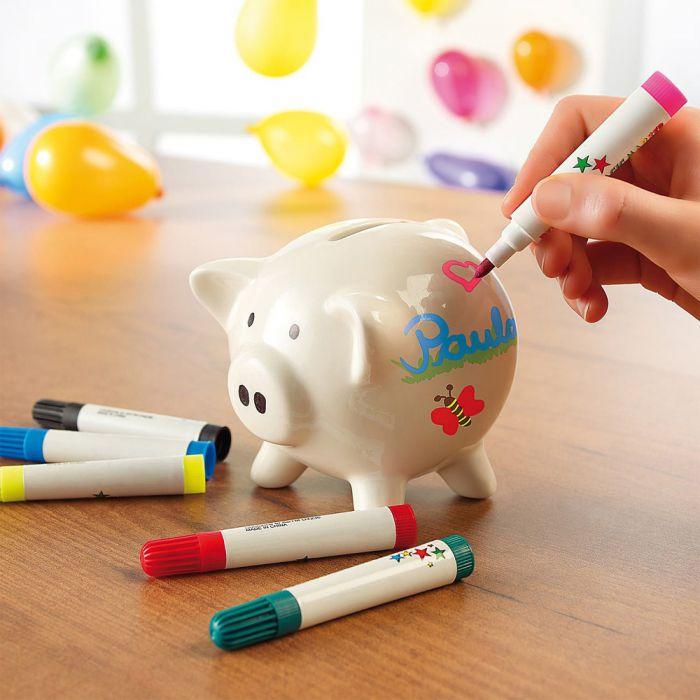 Sparschwein zum Bemalen mit Keramik Stiften