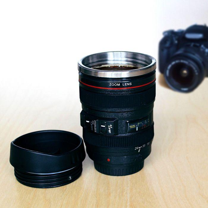Tasse à café thermo – objectif de caméra