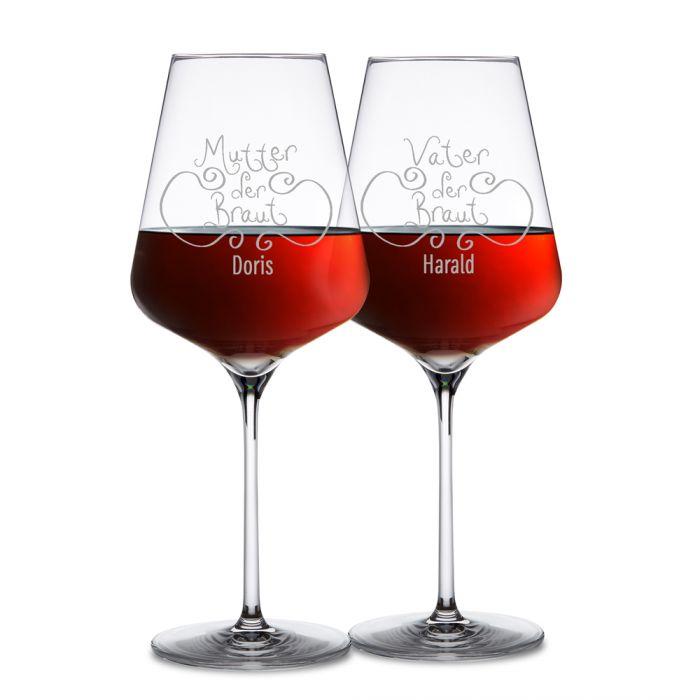 Weingläser für Brauteltern