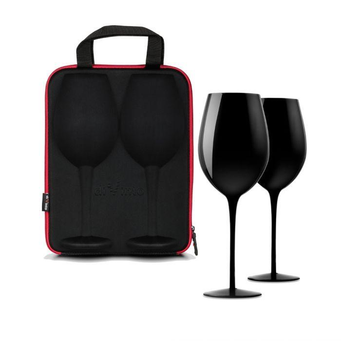 Weingläser schwarz - im Etui