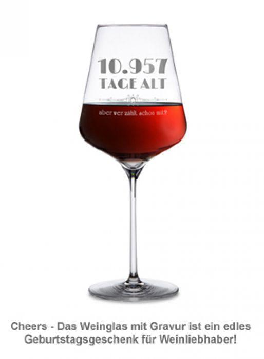Weinglas mit Gravur - Alter in Tagen