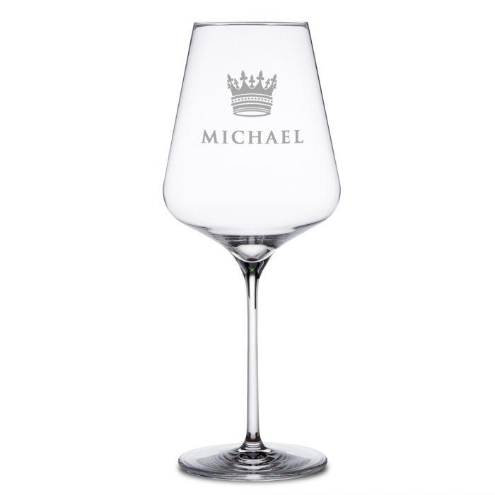 Weinglas mit Gravur - König Krone