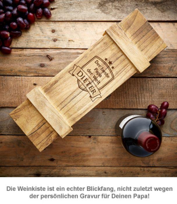 Weinkiste rustikal mit Gravur - Bester Papa