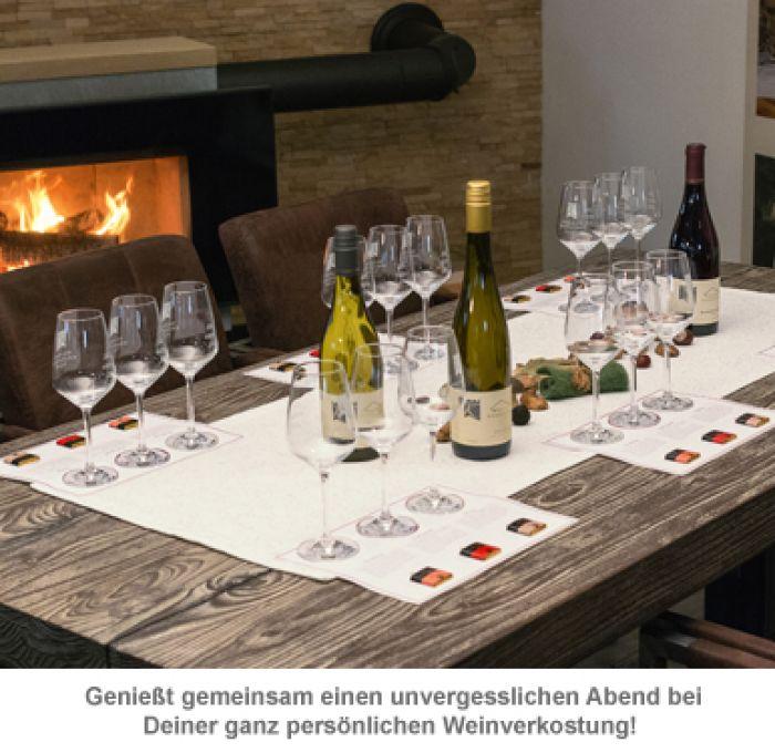 Weinprobe zu Hause - Set mit Wein und Schokolade