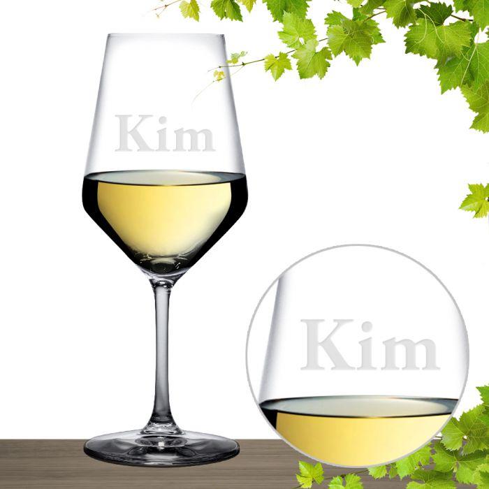 Weißweinglas mit Gravur