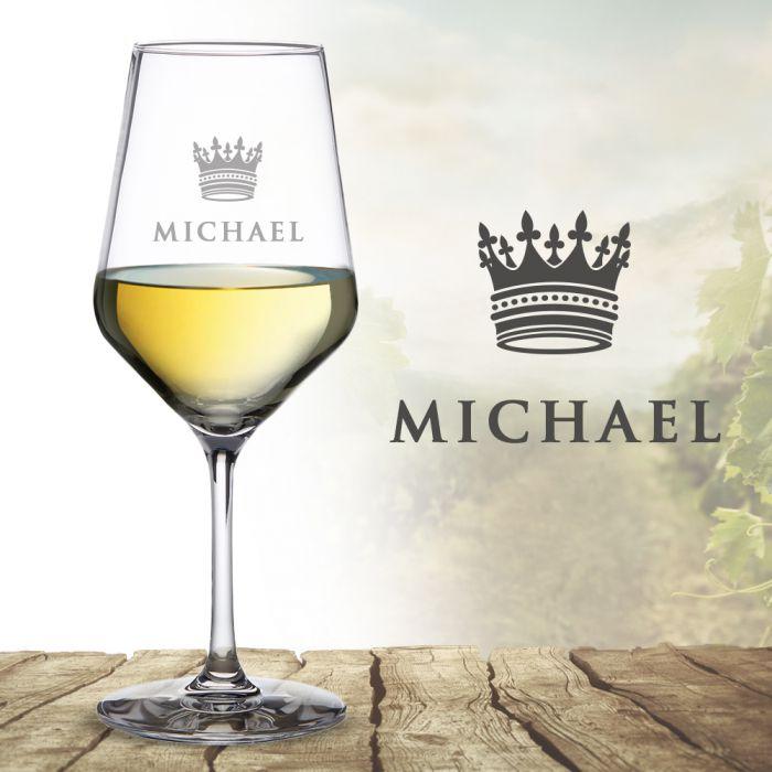 Weißweinglas mit Gravur - König Krone