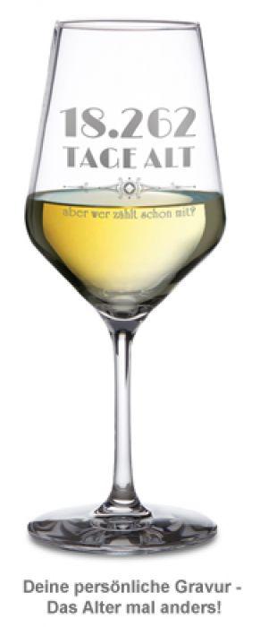 Weißweinglas personalisiert - Alter in Tagen