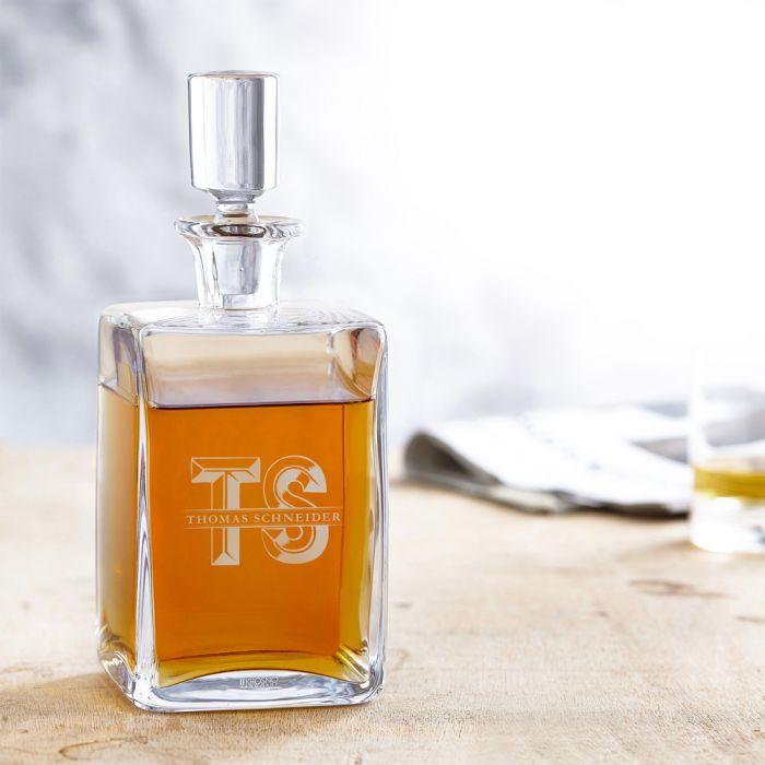 Carafe à whisky deluxe avec gravure - avec initiales XL