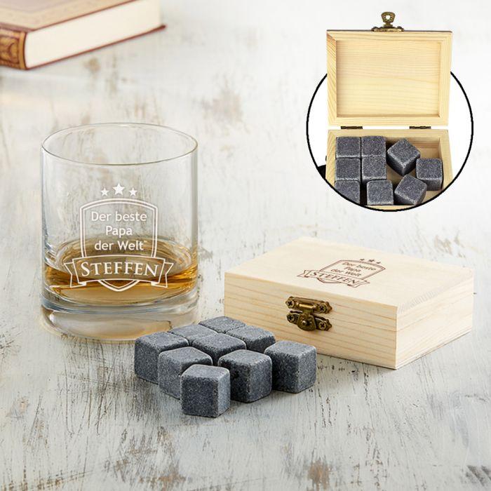 Whisky Set Bester Papa - Whisky Steine und Glas