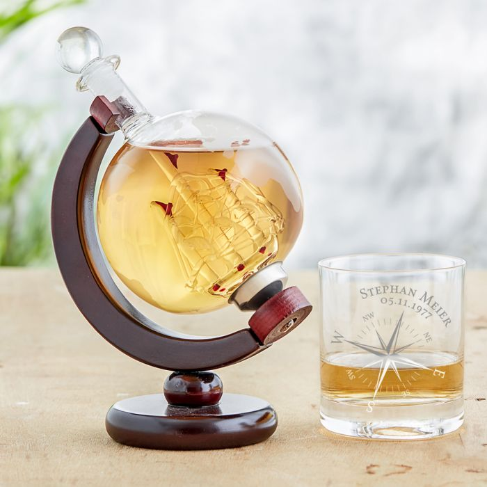 Whisky Set mit Globus Karaffe und Glas - Kompass