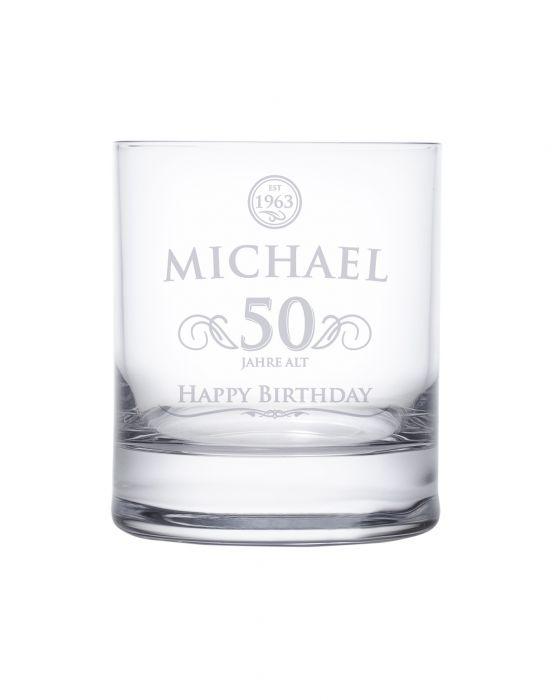 Whiskyglas 50. Geburtstag - elegant