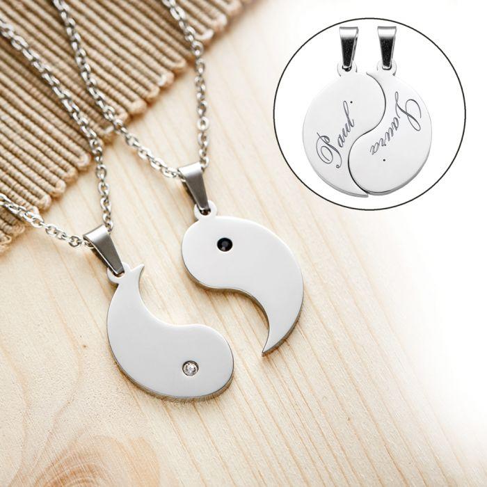 Yin Yang Anhänger 2er Set für Paare mit Gravur personalisiert