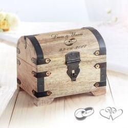 Coffre au trésor en bois - cadeau mariage