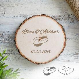 Tranche de tronc d'arbre pour le mariage – personnalisée