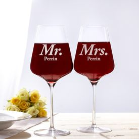 Verres  vin - Mr and Mrs