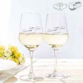 Verres  vin blanc pour le mariage
