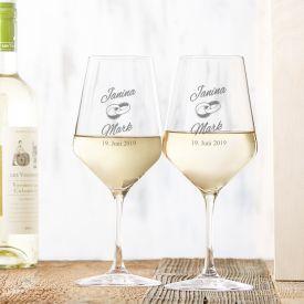 Weißweingläser zur Hochzeit - Personalisierte Geschenke