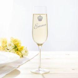 Flûte à champagne avec gravure – Couronne Royal