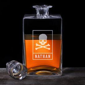 Carafe à whisky deluxe - avec gravure de tête de mort