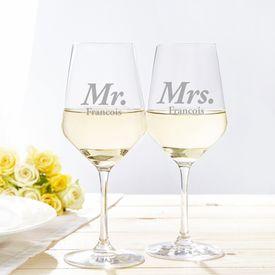 Verres  vin blanc  Mr et Mrs