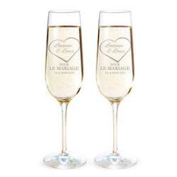 Flûtes à champagne pour le mariage - Gravure cœur