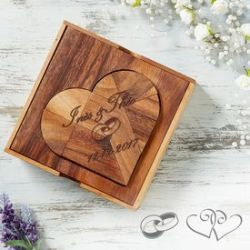 Puzzle en bois – cœur pour le mariage