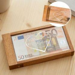 Boîte cadeau d'argent magique – gravure cœur