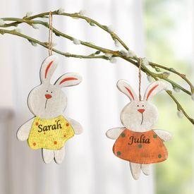 Dcoration lapin de pques en bois