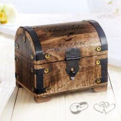 Coffre au trésor en bois  foncé - cadeau mariage