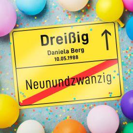 Personalisiertes Ortsschild - 30. Geburtstag - Personalisierte Bilder