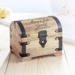 Coffre au trésor en bois - cadeau mariage - colombes