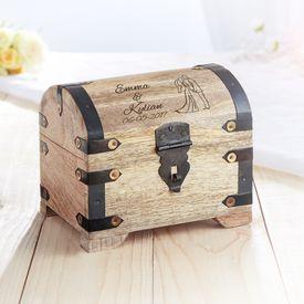 Coffre au trsor en bois  fonc - cadeau mariage - silhouette