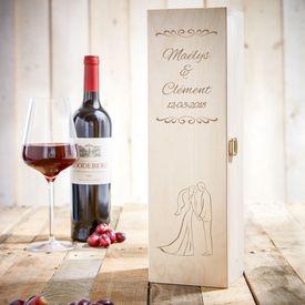 Caisse de vin personnalise pour le mariage  silhouette