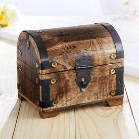 Coffre au trsor en bois fonc - cadeau mariage - colombes