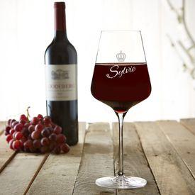 Verre  vin avec gravure  Couronne de reine