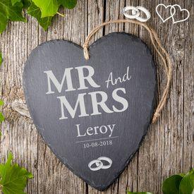 Cur en ardoise avec gravure  Mr and Mrs
