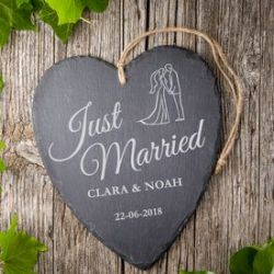 Coeur en ardoise avec gravure – Just Married – Mariés