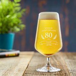 Verre à bière pour le 80ème anniversaire