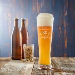 Verre à bière blanche pour le 80ème anniversaire