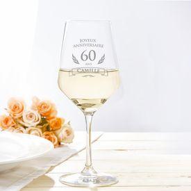 Verre  vin blanc pour le 60e anniversaire