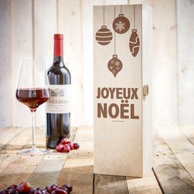 Noble caisse à vin - avec gravure de Noël